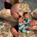 Сеть насмешила реакция малышей, впервые увидевших отца без бороды